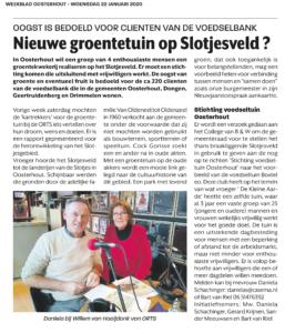 Voedseltuin Oosterhout Artikel weekblad Oosterhout 22-1-20