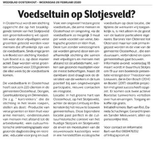 Voedseltuin Oosterhout Artikel weekblad Oosterhout 26-2-20