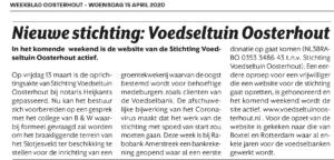 Voedseltuin Oosterhout Artikel weekblad Oosterhout 15-4-20
